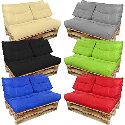 proheim Palettenkissen Lounge Sitzkissen Paletten-Auflage Polster für Europaletten viele Varianten und Farben wählbar, Farbe:Schwarz, Variante:Langes Rückenkissen - 5