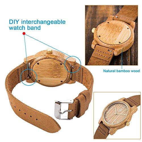 40mm Holz Armbanduhr für Herren und Damen, echtes Leder-Bügel Band Business Casual Armbanduhren, Japanisches Miyota Quarzwerk Bewegung Vintage Natürliche Holz Uhren (Bambus) - 5
