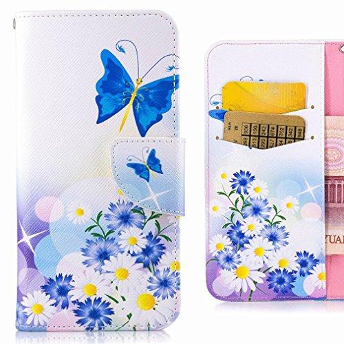 Preisvergleich Produktbild Handyhülle Huawei Mate 9 Hülle Tasche,  Ougger Blau Schmetterling Beutel BriefHülle Tasche Bumper Schale Schutzhülle PU Leder Weich Magnetisch Stehen Silikon Haut Flip Cover mit Kartenslot