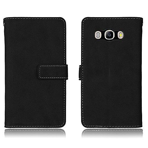 Coque Samsung Galaxy J5 (2016) J510, CaseFirst etui Portefeuille Cuir PU antichoc élégant Housse de Protection doux anti-rayures Leather Wallet Case Etui avec Magnétique Closure et Card Slot (Noir)