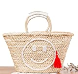 Amuele Beach Handtasche Stroh-Tasche Smiling Face Frauen Einkaufstasche groß Quasten Weave Woven Travel Schultertasche 131085, Style B Red