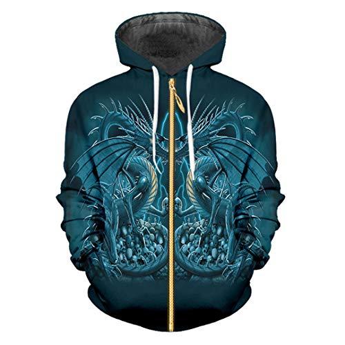 Zip Hoodies Cooler Druck Blauer Drache 3D Frauen/Männer Hiphop Streetwear Punk Style Langarm-Kapuzenpulli Blue Dragon Skull L