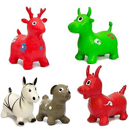 EYEPOWER Hüpfelch Rot Hüpftier Hüpfpferd Sprungpferd | Hüpfspielzeug für Mädchen und Jungen