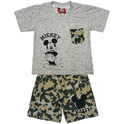 Jungen Mickey Mouse SOMMER-Set zweiteilig T-Shirt KURZARM mit Short in GRÖSSE 74, 80, 86, 92, 98, 104, 110, 116, ideales Strand-Outfit, T-Shirt mit KURZER Hose in CAMOUFLAGE Size 80 (Lustige Strand T-shirt)