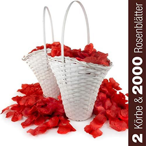 WeedingTree 2 cestas de flores para bodas con petalos de rosa en color rojo - 2000 pétalos de rosa para bodas, día de San Valentín, cumpleaños, y decoración de fiestas