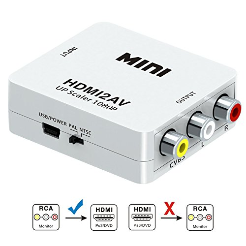 HDMI to RCA, GANA 1080P HDMI to AV 3RCA CVBs Composite Video Audio Converter Adapter Supporting PAL/NTSC with USB Charge Cable (White)