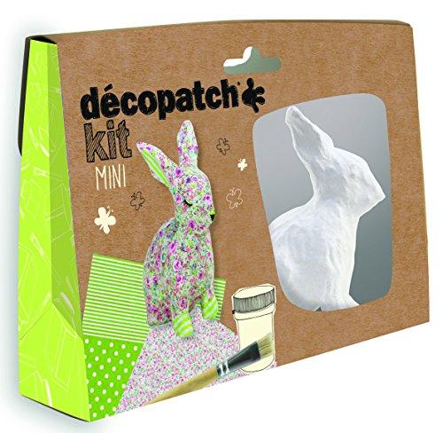 Decopatch KIT020C Décopatch Mini Kit, mit 2 Bögen Papier (30 x 40 cm), 1 Pinsel, 1 Pappmaché Kaninchen zum Verzieren, 1 Tube Kleber, ideal für Kinder, Ostern