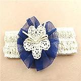 Große Blume Haarband Stirnband Trägerlos Kopftuch Fotografie Prop Für Baby Mädchen Blau