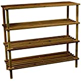 Pindia Brown Wooden Standard 4 Layer Shoe Rack