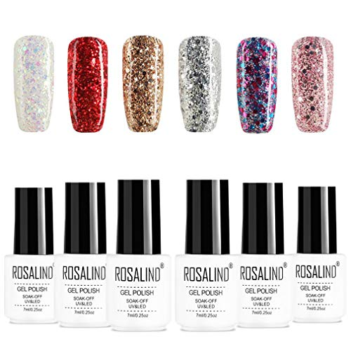 ROSALIND Semipermanente Glitter Smalti per Unghie in Gel UV LED Soak Off Gel Polish 6Pz *7ml Gift Set - Serie di diamanti lucenti