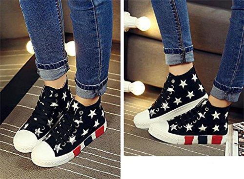 ALUK- Version Coréenne De Haut-Top Chaussures De Chaussures Femmes Chaussures Grosse Croûte Casual Étudiant ( couleur : Blanc , taille : 39 ) Noir