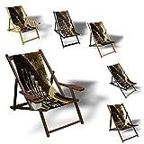 Printalio Wasserrad - Liegestuhl Bedruckt Balkon Garten Sonnenliege Relax Holz Terrasse | Ohne Armlehne, Dunkelbraun