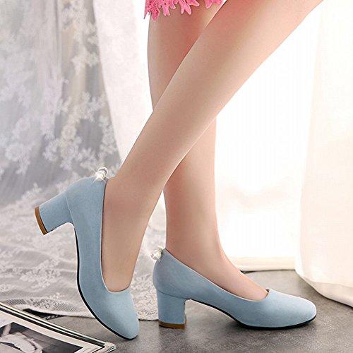 Mee Shoes Damen populär süß vierkant Perle-Dekoration Geschlossen Nubukleder chunky heel Pumps Hellblau