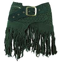 GURU-SHOP, Goa Mini Skirt, Wrap Skirt, Cacheur, Green, Cotton, Size:14, Cacheurs and Hip Flatterers