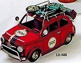 FIAT 500mit Gepäckträger Fahrrad und Koffer–aus Blech cm 32Color Rot