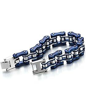 Top-Qualität Herren-Armband Fahrradkette Motorradkette aus Edelstahl Silber Blau Zwei Töne Hochglanz Poliert