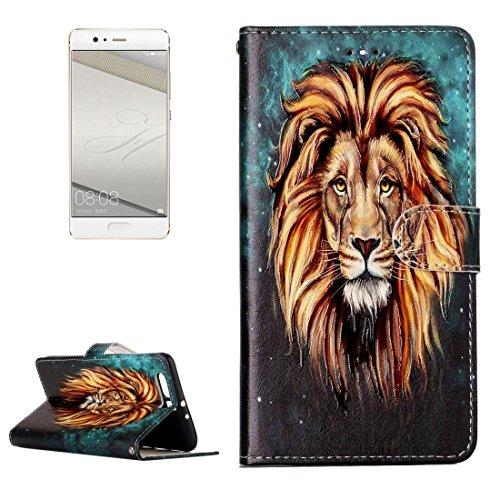 JDON Handys Case Hülle, Für Huawei P10 Plus, Glanz Öl geprägte Wolf Muster Horizontal Flip Ledertasche mit Halter & Kartensteckplätze & Brieftasche & Bilderrahmen für Huawei P10 Plus (SKU : Mlc3079b) (Polyurethan-glanz-Öl)