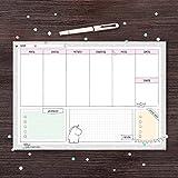 Wochenplaner für Schreibtisch von Katz und Tinte, DIN A4 aus Papier zum Abreißen, 30 Blatt mit Einhorn, block, büro, quer, mint, modern