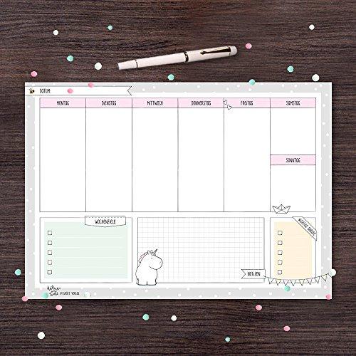 Wochenplaner für Schreibtisch von Katz und Tinte, DIN A4 aus Papier zum Abreißen, 30 Blatt mit Einhorn, block, büro, quer, mint, modern (Tinte Mint)