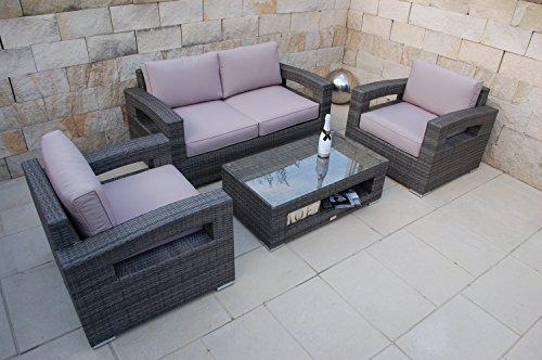 NORDLAND Premium-Gartenmöbel Set Polyrattan 4 Personen inkl. Glasplatte Tisch Sessel 2-Sitzer Sofa ,Aluminiumgestell und allen Sitzkissen / Polstern - Sitzgruppe