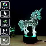 Cenblue Einhorn 3D Lichter 7 bunte Touch Control Acryl Lampe - Kinder Nachtlichter Neuheit Leuchtende LED Tischleuchte