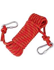 WINOMO 10M árbol escalada Honda rapel cuerda cable auxiliar equipo de seguridad (rojo)