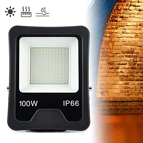 Froadp 100W LED Außenstrahler Tragbar Scheinwerfer Aluminiumgehäuse Flutlicht IP66 Wasserdicht Überspannungsschutz Sicherheitsbeleuchtung mit Blitzschutz für Gärten Villen Parks Stadien(Warmweiß)