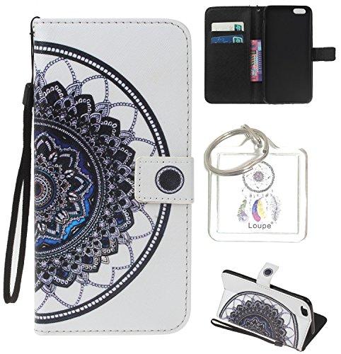 Coque pour Huawei P8 Lite, Etui pour Huawei P8 Lite PU Cuir Flip Magnétique Portefeuille Etui Housse Coque en Cuir Portefeuille Housse de Case pour Huawei P8 Lite + porte-clés(W) (5)