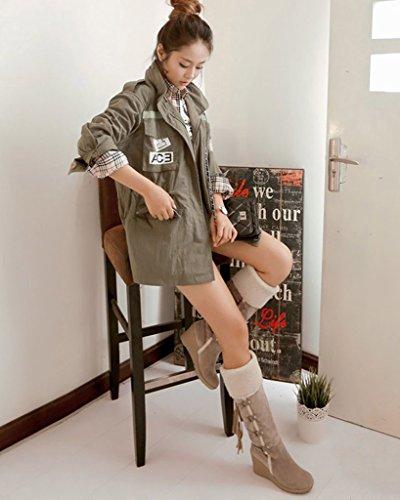 Minetom Femme Hiver Bottines Chaud Peluche Bottes De Neige Coton Rembourré Talons Compensés Chaussures Beige