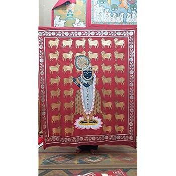 Narendra arts Cotton Cloth Shrinath Ji Pichwai (18x24-inch, Stone Colours)