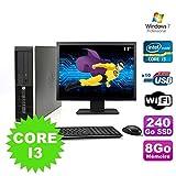 - PC HP Compaq Elite 8100SFF Core i3–5308GB 240GB SSD DVD WiFi W7+ Display 17