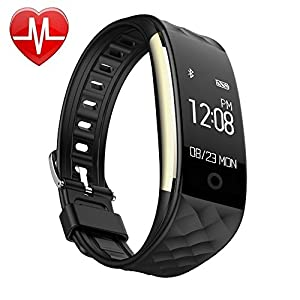 EFOSHM S2 Smart Bracelet Sports Fitness Tracker Heart Rate Sleep Quality Monitor Call/SMS Reminder IP67 Waterproof for Android IOS (black)