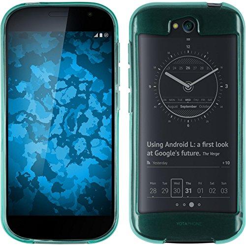 PhoneNatic Case kompatibel mit Yota Yotaphone 2 - türkis Silikon Hülle transparent + 2 Schutzfolien