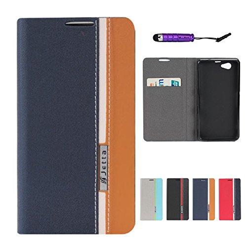 CaseFirst Sony Xperia Z1 Mini Custodia, Antiurto Portafoglio Custodia in Pelle con Porta Carte Flip Caso Antiscivolo Protezione Cover per Sony Xperia Z1 Mini (Blu + Giallo)