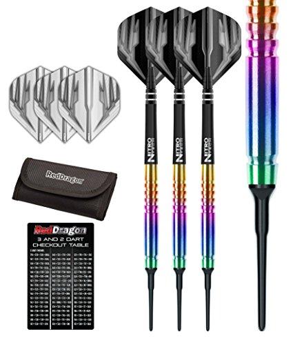 Red Dragon Razor Edge Spectron 18g - 85% Tungsten Soft Tip Steel Darts (Steel Dartpfeile) mit Flights, Schäfte, Brieftasche Checkout Card