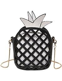 Pineapple Pu Leather Handbag Women Girl Messenger Bag Chain Hollow Out Mini Women'S Fruit Handbags (Solid Chain...