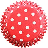 PME Red Polka Dots Paper Baking Cases for Cupcakes, Standard Size, Pack of 60