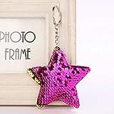 CAR 2 PCS linda Chaveiro Llavero de la estrella del brillo de las lentejuelas Pompón Clave regalos de la cadena for la Mujer Llaveros Mujer bolso del coche accesorios anillo clave LFQ (rosa)