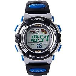 Hiwatch Kinder LED-Digitaluhr Sportuhr mit Alarm Stoppuhr Armbanduhr für Jungen Mädchen Kindergeschenk Blau