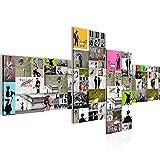 Bilder Collage Banksy Street Art Wandbild Vlies - Leinwand Bild XXL Format Wandbilder Wohnzimmer Wohnung Deko Kunstdrucke Bunt 4 Teilig - MADE IN GERMANY - Fertig zum Aufhängen 302742a