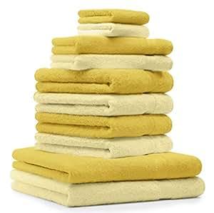 10 tlg. Handtuch Set Premium Farbe Hell Gelb & Gelb 100% Baumwolle 2 Duschtücher 4 Handtücher 2 Gästetücher 2 Waschhandschuhe