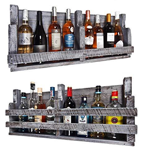 Upcycling Handmade Palettenregal (HxB : 8o x 39 cm) wahlweise mit 1 oder 2 Streben für 8 Flaschen im shabby chic used Look aus Echtholz ideal als Weinregal oder Wandbar