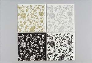 Zelltuch-Servietten Arabesque silber 33 x 33 cm