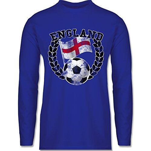Shirtracer Fußball-WM 2018 - Russland - England Flagge & Fußball Vintage - Herren Langarmshirt Royalblau