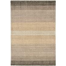 Alfombra salon sala de estar Carpet piso pelo corto Design HAYS STREIFEN RUG 60% Lana 40% Algodón 160x230 cm Rectangular Marrón   Alfombras barata online comprar