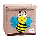 Trureey Scatole Giocattoli con Coperchio Pieghevole Resistente Cubo Scatola Portaoggetti Facile da Pulire e Organizzare Giocattolo Scatola Portaoggetti in Tessuto 33 x 33 x 33 cm (Bee)