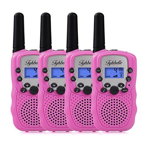 Tyhbelle 4X PMR Funkgeräte Sets Kinder Walkie Talkies 8 Kanäle mit LC-Display für Camping im Freien (4er-Pink)