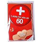 """Geldgeschenk-Karte """"60"""" mit 1.Hilfe Metall Button inkl. Umschlag Glückwunsch Karte 60.Geburtstag"""