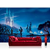 Fototapete 368x254 cm PREMIUM Wand Foto Tapete Wand Bild Papiertapete - Kindertapete Tapete Disney Princesses Disney Cinderella Schloss Pferde Kutsche blau - no. 2244