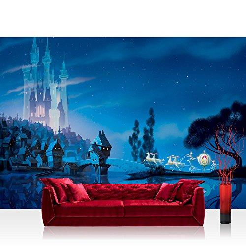 Preisvergleich Produktbild Vlies Fototapete 152.5x104cm PREMIUM PLUS Wand Foto Tapete Wand Bild Vliestapete - Kindertapete Tapete Disney Princesses Disney Cinderella Schloss Pferde Kutsche blau - no. 2244